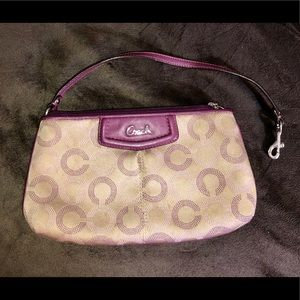EUC Coach Purple/Tan Wristlet